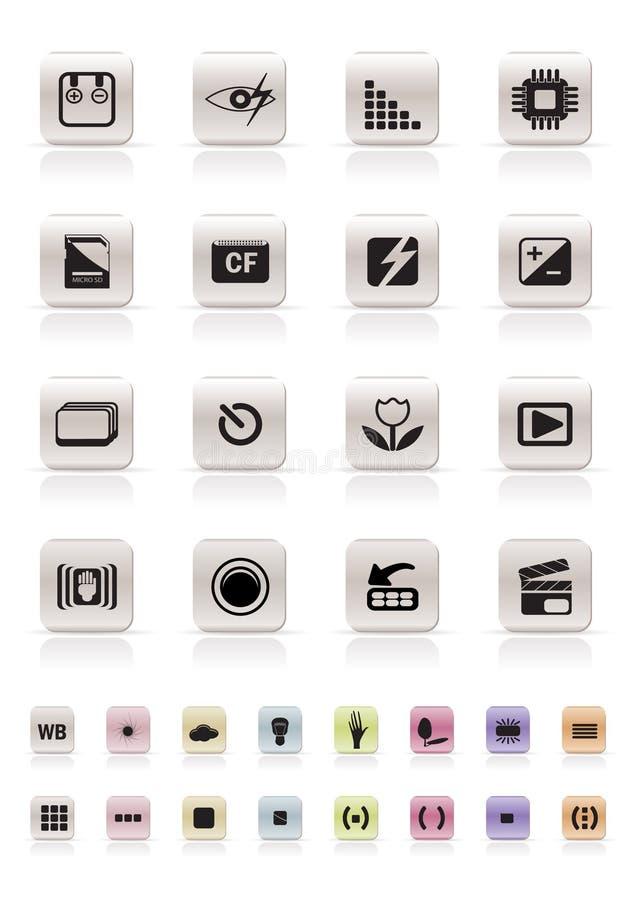 De digitale Prestaties van de Camera - de VectorReeks van het Pictogram royalty-vrije illustratie