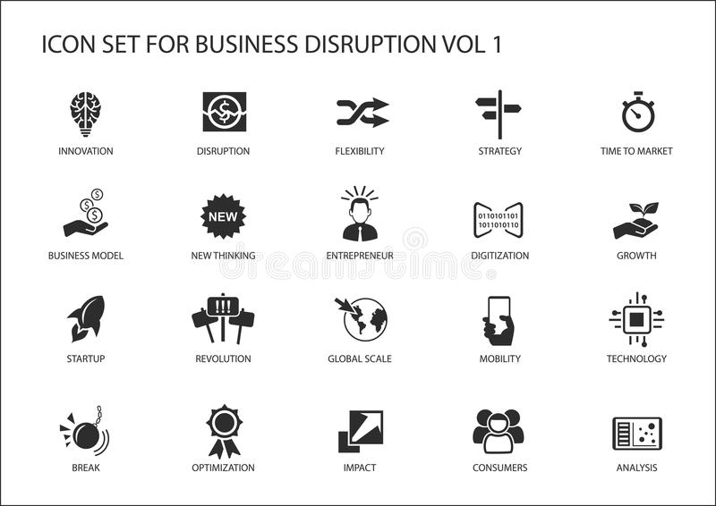 De digitale reeks van het bedrijfsverstoringspictogram vector illustratie