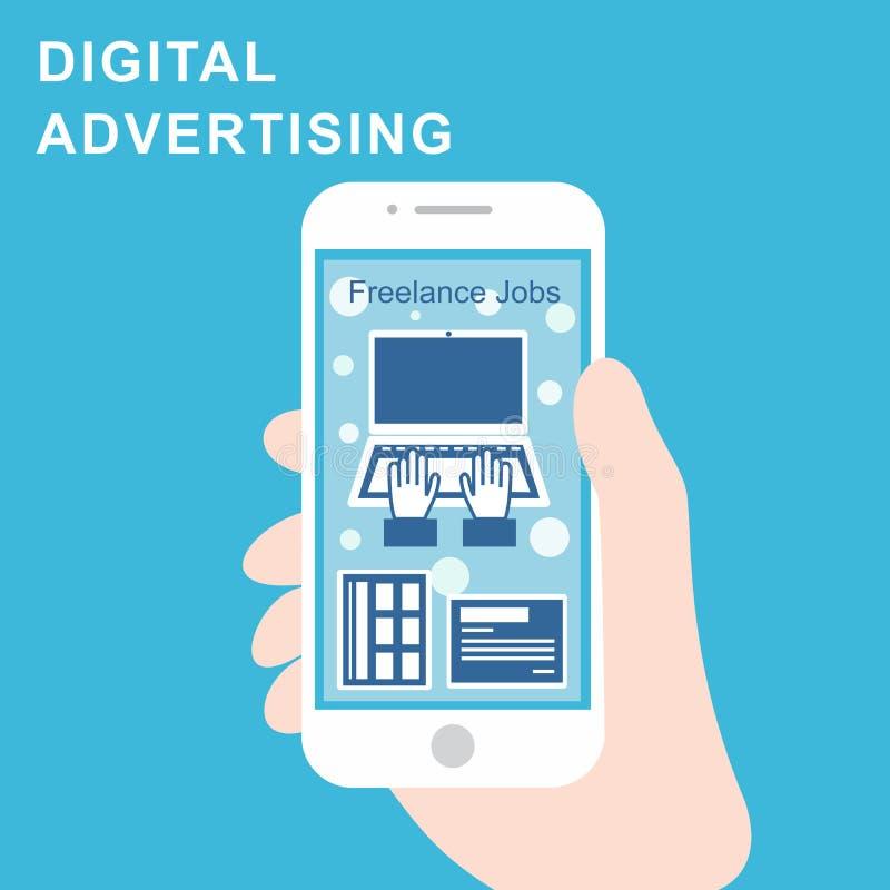 De digitale sociale media van reclameadvertenties Online op de markt brengend Vectorillustratieconcept stock illustratie