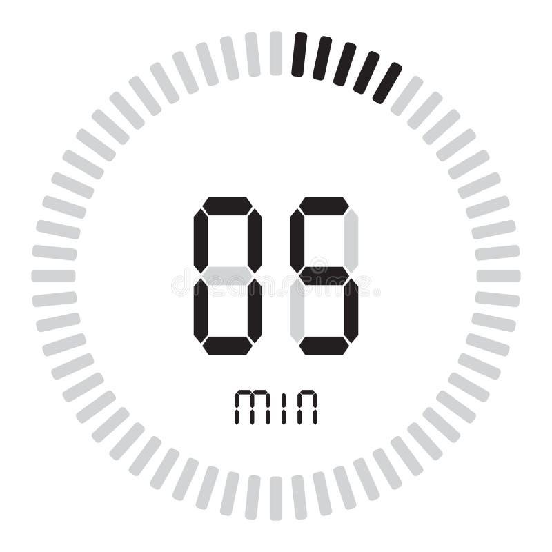 De digitale tijdopnemer 5 minuten elektronische chronometer met een gradiëntwijzerplaat die vectorpictogram, klok en horloge, tij vector illustratie