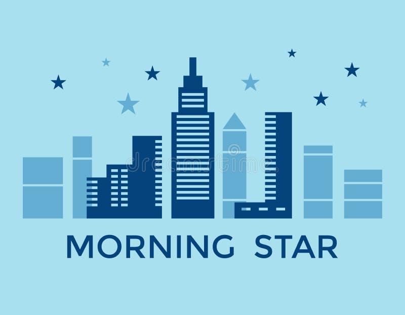 De digitale vector blauwe stadsbouw royalty-vrije illustratie