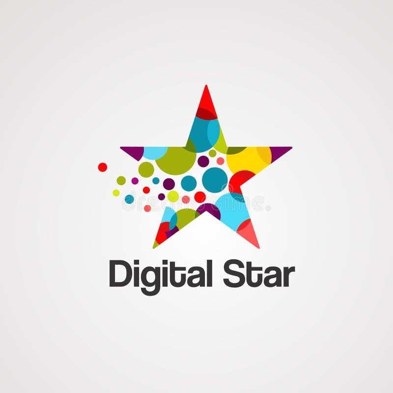 De digitale vector, het pictogram, het element, en het malplaatje van het sterembleem stock illustratie