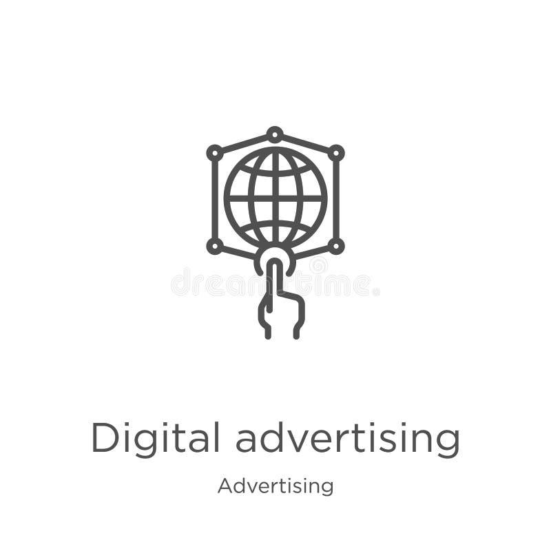de digitale vector van het reclamepictogram van reclameinzameling Dunne lijn digitale het pictogram vectorillustratie van het rec vector illustratie