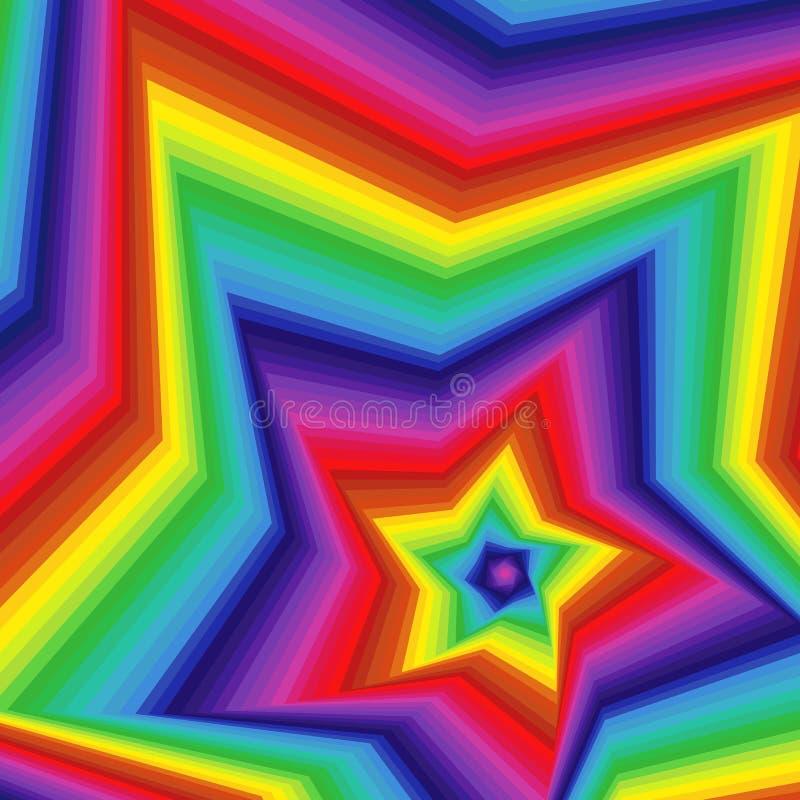 De digitale verdraaide vormen van de spectrum pentagonale ster royalty-vrije illustratie