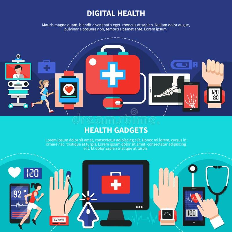 De digitale Vlakke Banners van Gezondheidsgadgets royalty-vrije illustratie
