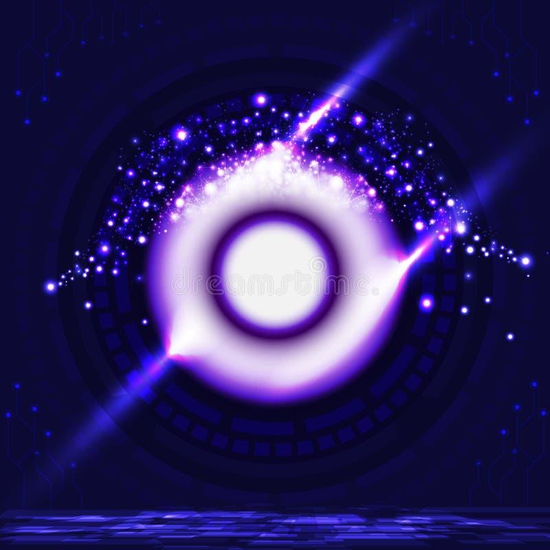 De digitale vorm van de het oogbal van de poorttechnologie aan toekomstig violet neon lig vector illustratie