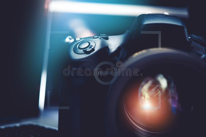 De digitale Weergave van de Camerafoto stock afbeelding