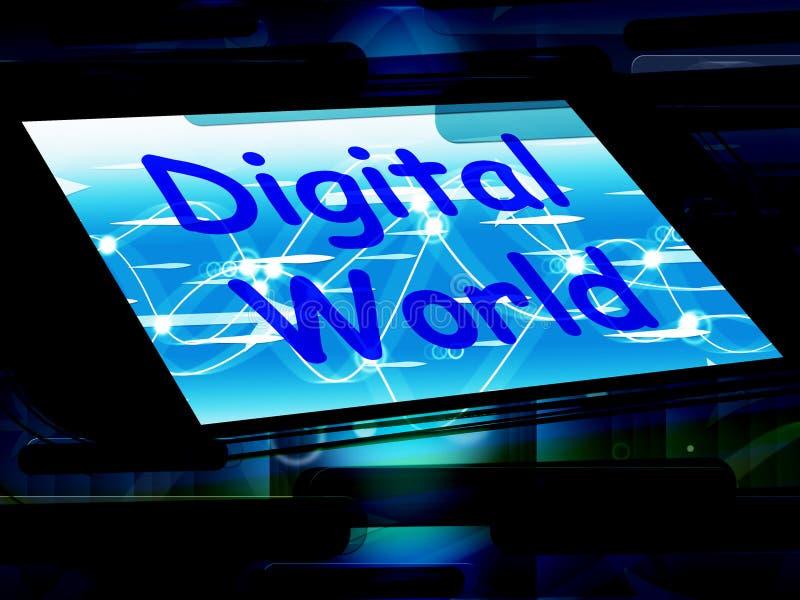 De digitale Wereld op Telefoon betekent Verbinding Internet Www royalty-vrije illustratie