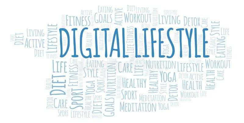 De digitale wolk van het Levensstijlwoord stock illustratie