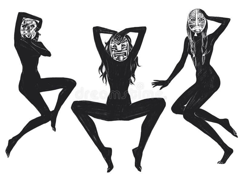 De digitale de zittingsmeisjes van de roosterillustratie in masker in zwarte kleur isoleerden voorwerpen op witte achtergrond voo stock illustratie