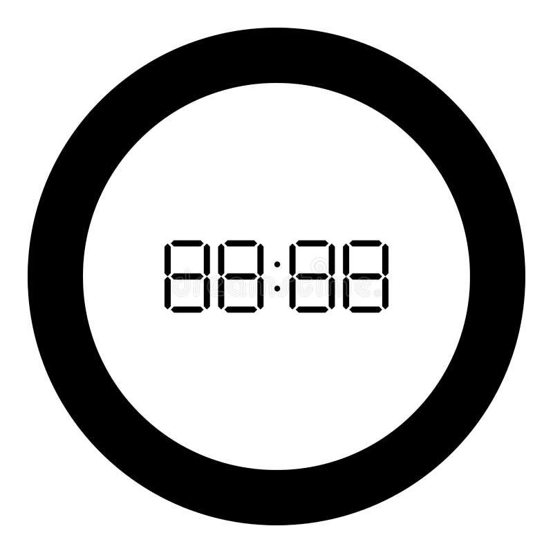 De digitale zwarte kleur van het wijzerplaatpictogram in ronde cirkel vector illustratie