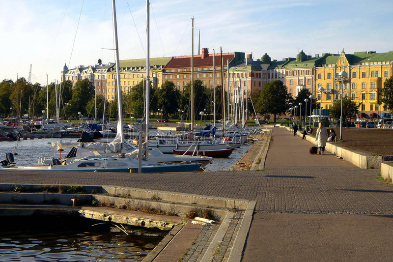De dijk Helsinki van de stad stock afbeelding