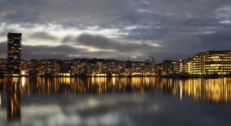 De dijk van Stockholm met boten stock fotografie