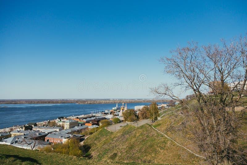 De dijk van Volga stock afbeelding