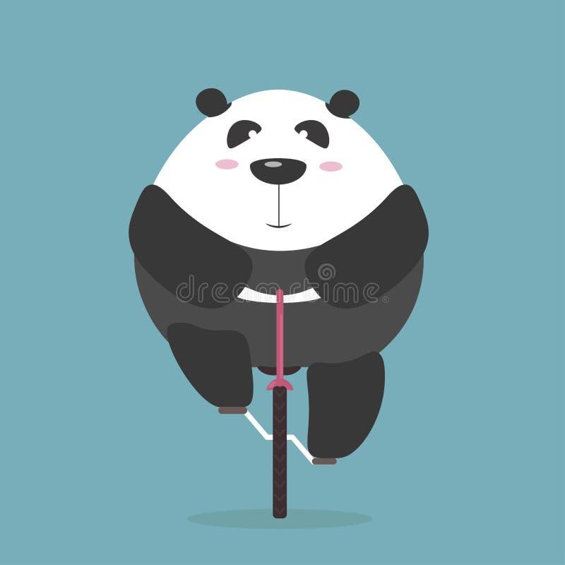 De dikke reuzepanda berijdt voorwaartse fiets royalty-vrije illustratie