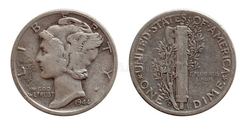 De dime het muntstuk van de tien centenv.s. verzilvert beide kanten die op wit worden ge?soleerd stock afbeeldingen