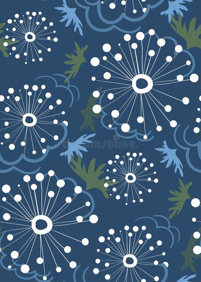 De Dindalionvector stileerde modern naadloos bloemenpatroon Skandinaviër vector illustratie