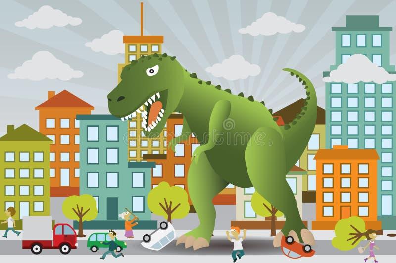 De dinosaurus valt de stad aan vector illustratie