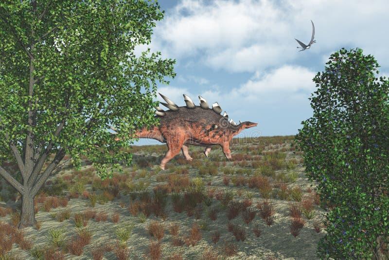De dinosaurus van Kentrosaurus het lopen stock illustratie
