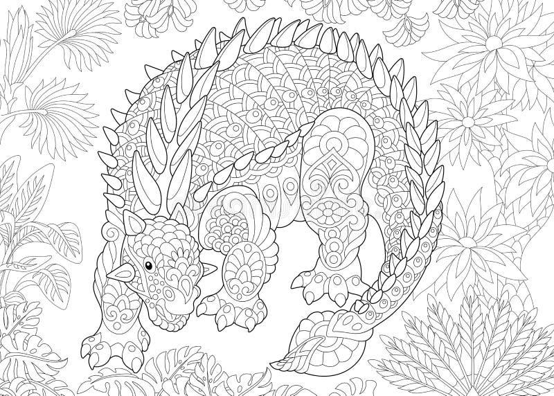 De dinosaurus van Zentangleankylosaurus stock illustratie