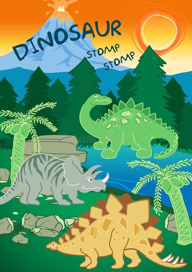 De dinosaurussen stampen stampen naast een vulkaan royalty-vrije illustratie