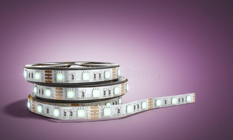 De diodestrook leidde lichtenband in 3d houdersclose-up teruggeeft op darc stock fotografie