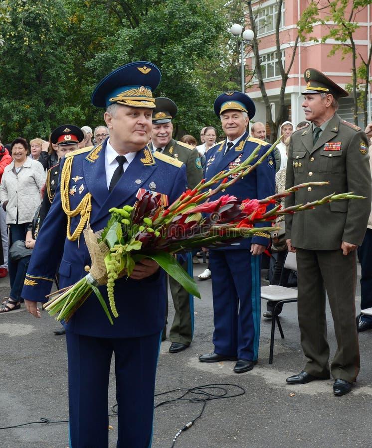 De directeur van de eerste militaire school van Moskou, met specialisatie studeert algemeen Vladimir Krymsky af royalty-vrije stock afbeelding