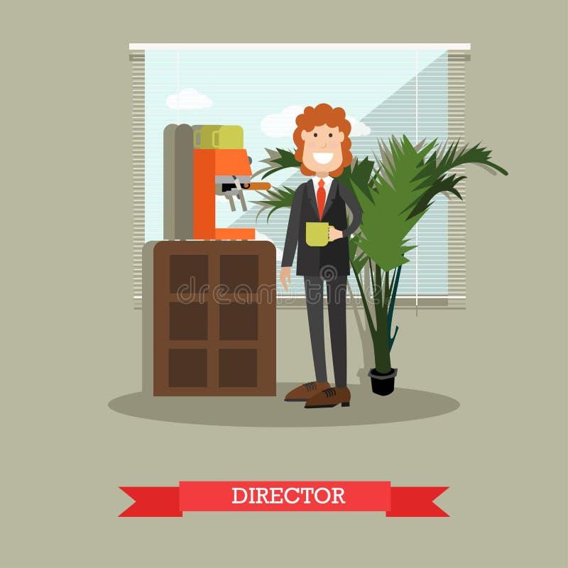 De directeurs vectorillustratie van het koffiehuis in vlakke stijl royalty-vrije illustratie