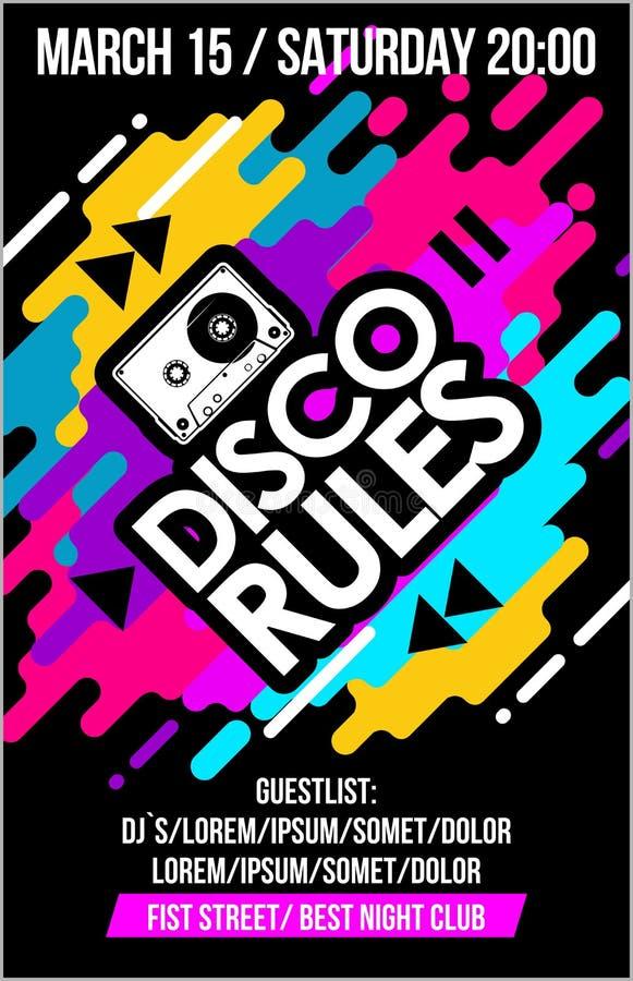 De disco beslist muziekaffiche, muziekbanner of vlieger met het ontwerp koele elementen van het cassette in kleurrijke neon & het vector illustratie