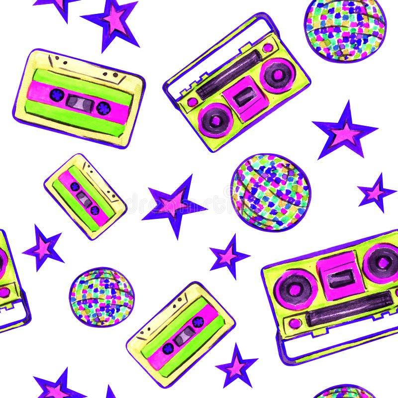 De discojaren '80 op een witte achtergrond royalty-vrije illustratie