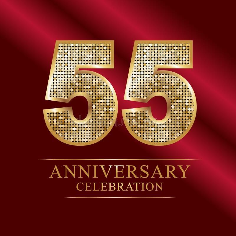de discostijl van de de 55ste jarenverjaardag logotype royalty-vrije illustratie