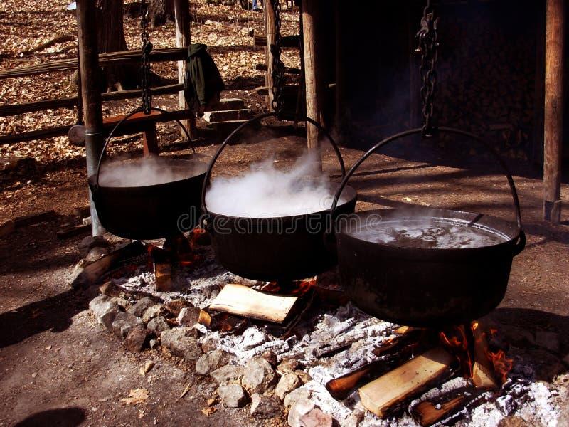 De distilleerderij van de ahornstroop stock afbeelding