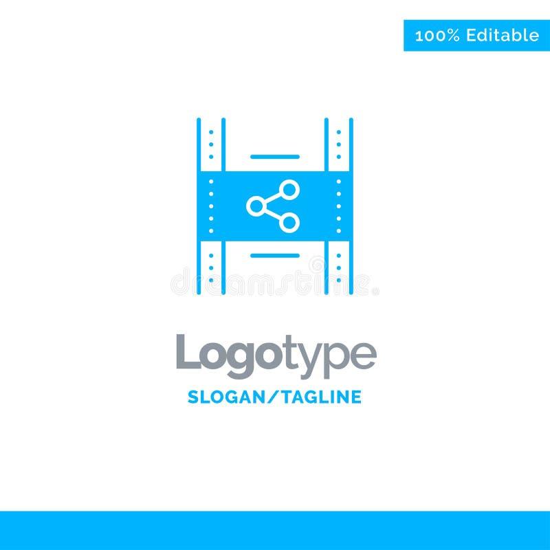 De distributie, Film, Film, P2p, deelt Blauw Stevig Logo Template Plaats voor Tagline royalty-vrije illustratie