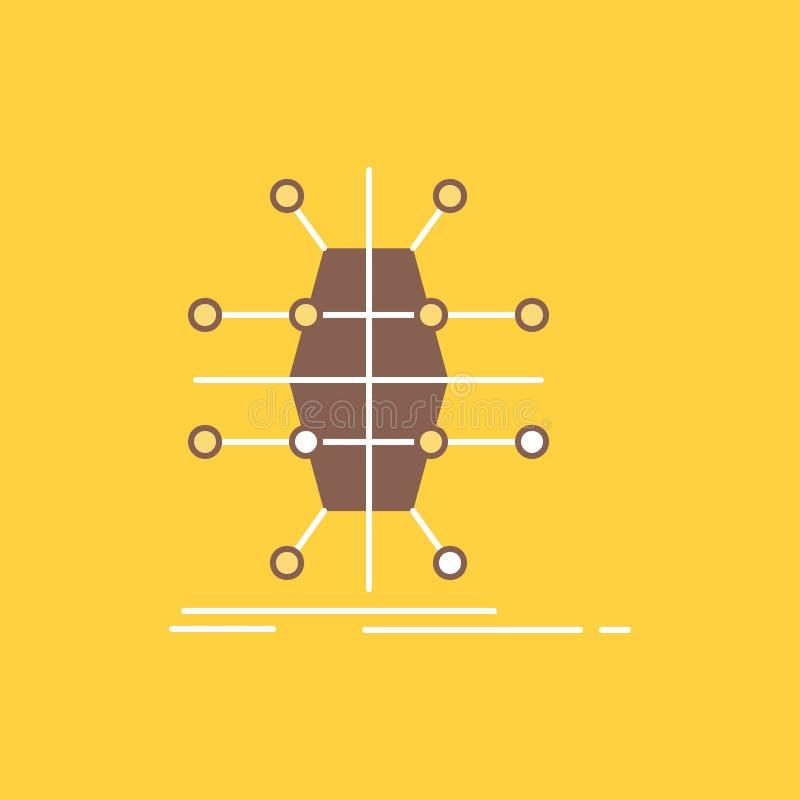 De distributie, net, infrastructuur, netwerk, slimme Vlakke Lijn vulde Pictogram Mooie Embleemknoop over gele achtergrond voor UI vector illustratie