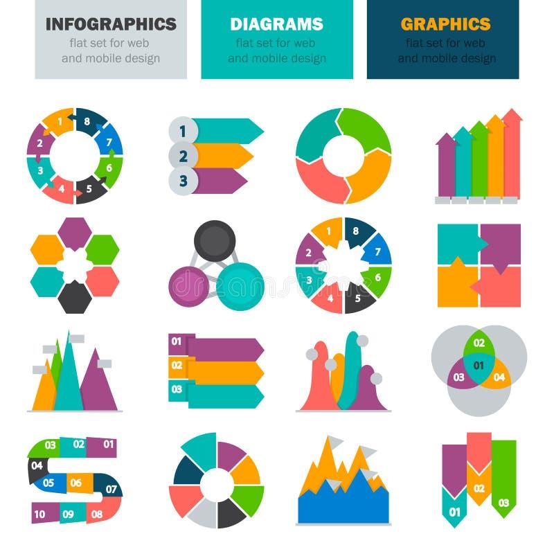 De diverse diagrammen en grafiekelementen van infographics kleuren vlakke pictogramreeks stock illustratie