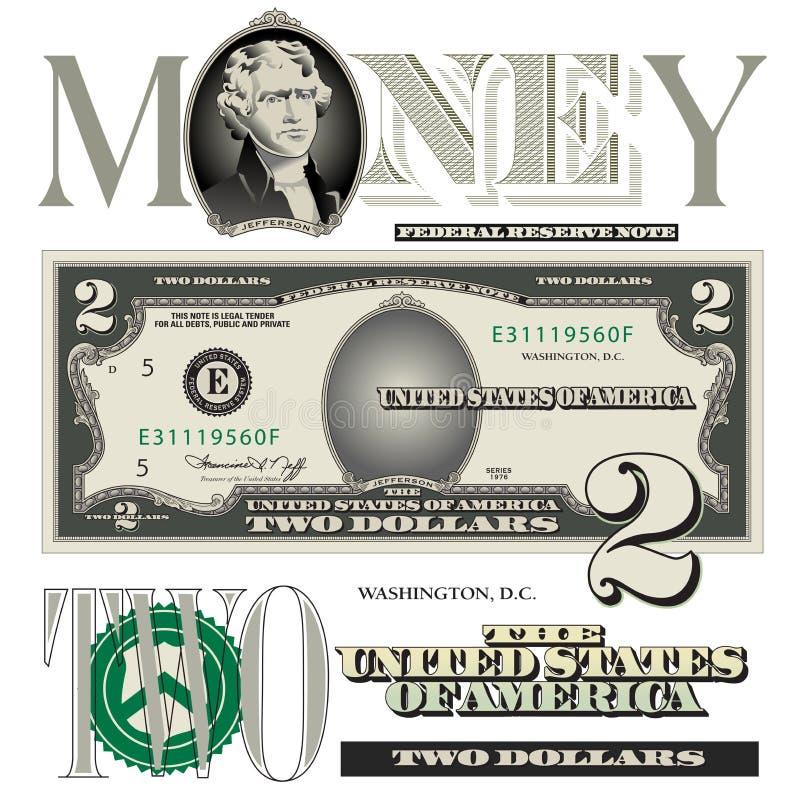 De diverse elementen van de 2 dollarsrekening royalty-vrije illustratie