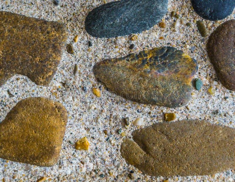 De diverse gekleurde stenen in verschillende vormen met vuursteen schommelt binnen - tussen op achtergrond van de cement de mooie stock foto's