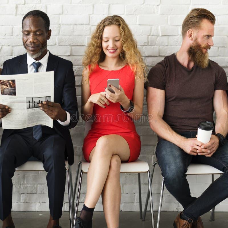 De diverse Technologie Concep van de Groeps Mensen Communautaire Samenhorigheid stock afbeelding