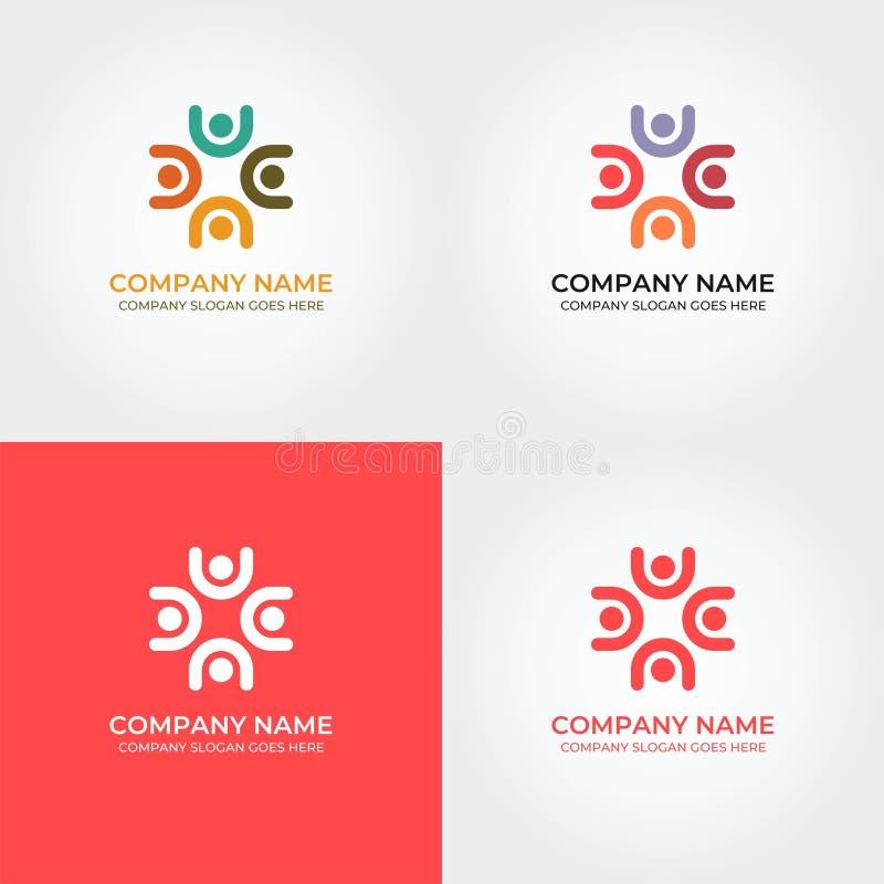De Diversiteit Logo Icon Template van de menseneenheid royalty-vrije illustratie