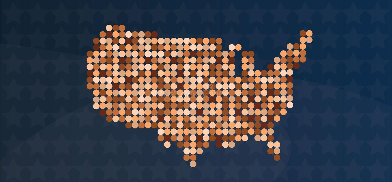 De diversiteitskaart van de V.S. tegen racisme royalty-vrije illustratie