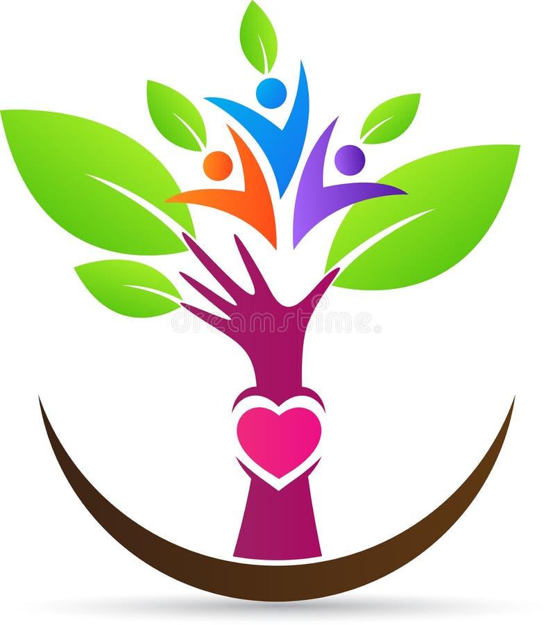 De diversiteitsmensen geven handboom royalty-vrije illustratie