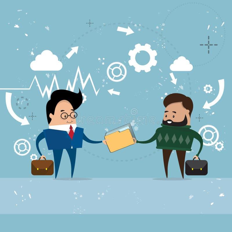 De Documenten van zakenmangive folder document, de Informatiegegevens van het Zakenliedenaandeel stock illustratie