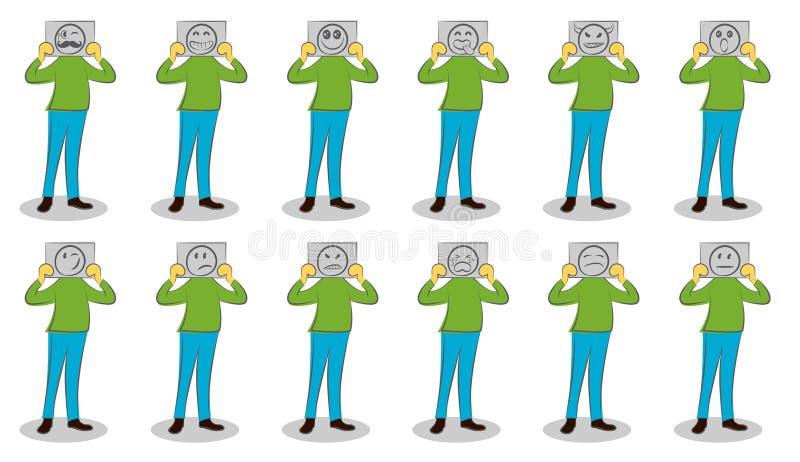 De documenten van de zakenmanholding met verschillende emoties De motivatie voor het verbergen van emoties Reeks valse emoties De royalty-vrije illustratie