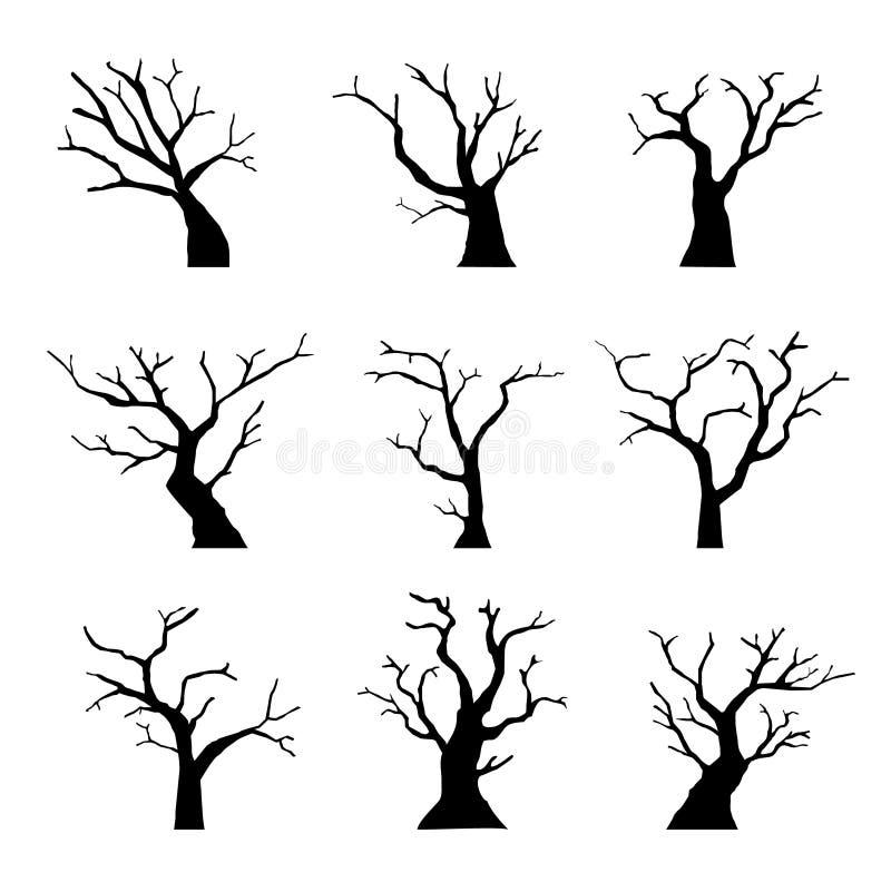 De Dode boom van het silhouet stock illustratie