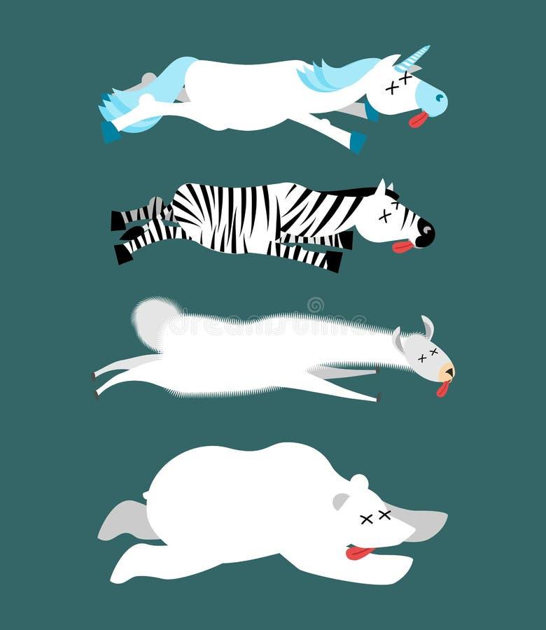 De dode dieren plaatsen 1 Eenhoorn en zebra Lama en ijsbeer Ani stock illustratie