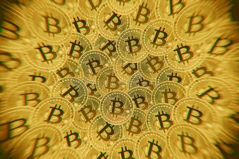 De Doebleblootstelling van Vele gouden muntstukken met Bitcoin-teken, het is een cryptocurrencyachtergrond royalty-vrije illustratie
