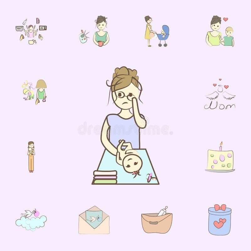 De doekpictogram van de babyverandering voor Web wordt geplaatst dat en het mobiele algemene begrip van moederpictogrammen royalty-vrije illustratie