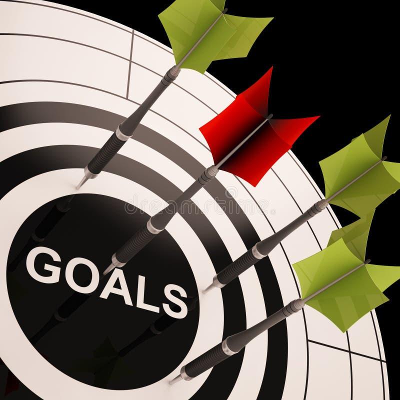 De doelstellingen op Dartboard toont Gestreefde Doelstellingen vector illustratie