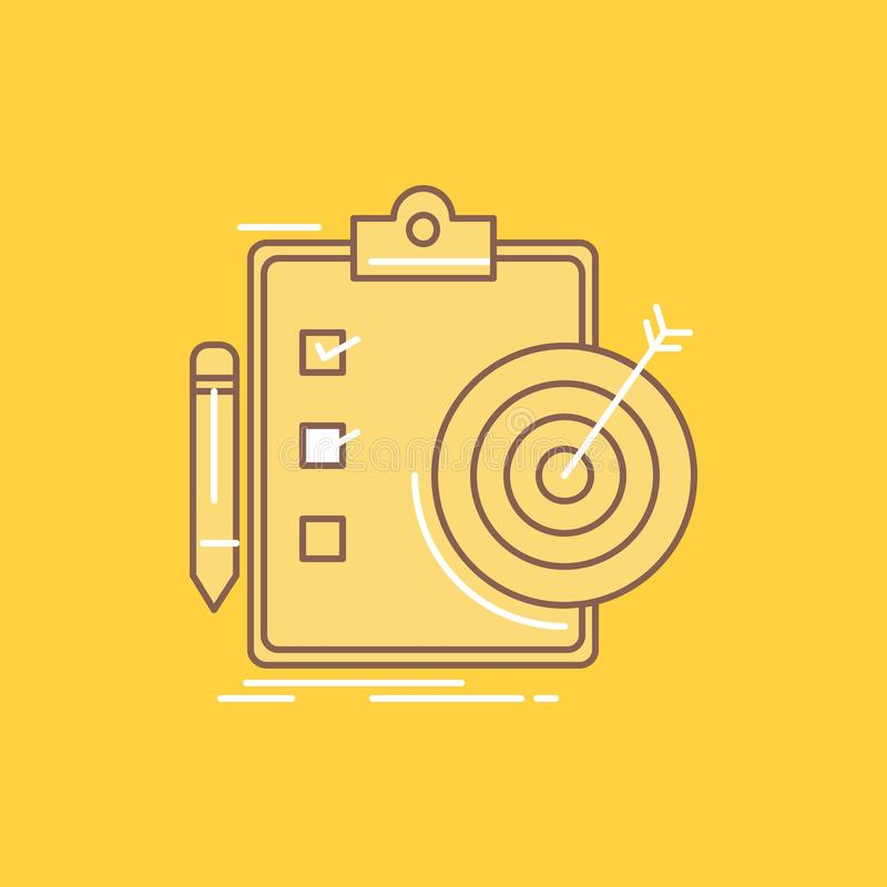 de doelstellingen, rapport, analytics, doel, voltooiings Vlakke Lijn vulden Pictogram Mooie Embleemknoop over gele achtergrond vo stock illustratie