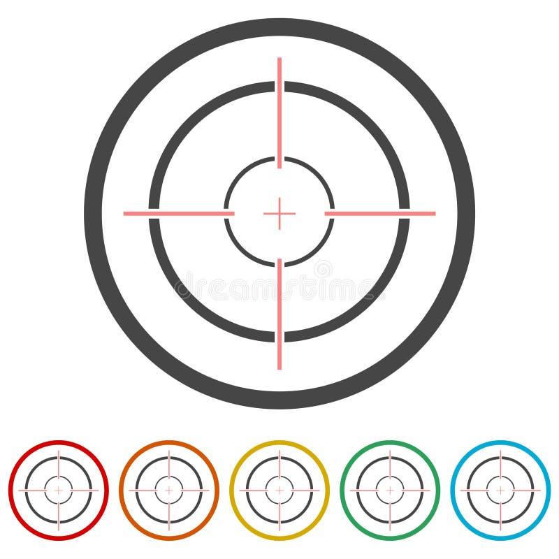 De doelstellingen van het de jachtgezicht, Crosshair-pictogram, 6 Inbegrepen Kleuren stock illustratie